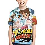 XCNGG Niños Tops Camisetas Boy T-Shirt Yo-Kai Watch 3D Printed Teenage Youth Boys Girls Short Sleeves Medium