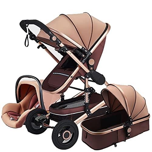 Cochecito para bebés Bebé Baby Bassinet 3 en 1 Carruaje de bebé Cochecito de lujo plegable Cochecito de lujo con cochecito de bebé PRAM Cochecito de bebé con bolsas de mamá Funda de lluvia Mosquitera
