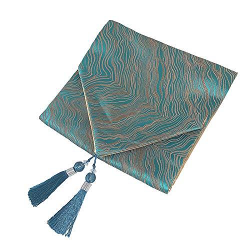 Cgration Camino de mesa moderno de lujo estilo chino con borla, mantel individual de tela, tapete de tela, decoración de fiesta para comedor, té, café y escritorio