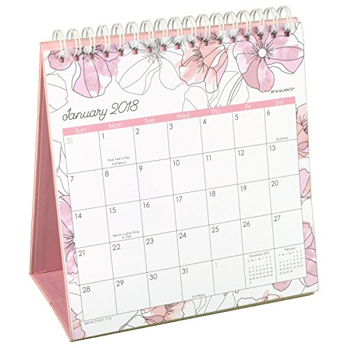 "AT-A-GLANCE Monthly Easel Calendar, January 2018 - December 2018, 6-1/16"" x 6-3/8"", Wirebound, Blush (D1041-713)"