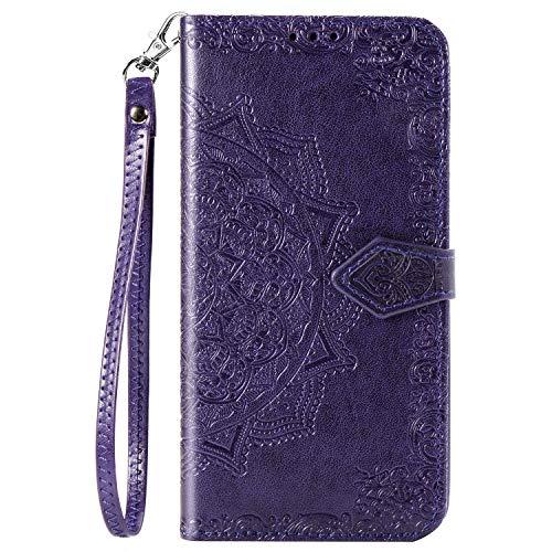 BaiFu Datura blommor plånboksfodral för Xiaomi Redmi Note 9 Pro läder plånbok kort flip fodral med magnetisk stängning kompatibel med Xiaomi Redmi Note 9 Pro-Purple