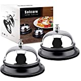 Big Button Desk Call Bells, Safcare Front Desk Service Bells, Made of All-Metal Construction for Office Hotels Schools Restaurants Bar Reception Areas Hospitals and Warehouses(Silver, 2 Pack)