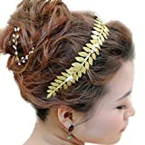 Gracewedding - Accesorio para el pelo/diadema dorada con hojas hechas de cristal para novia o dama de honor