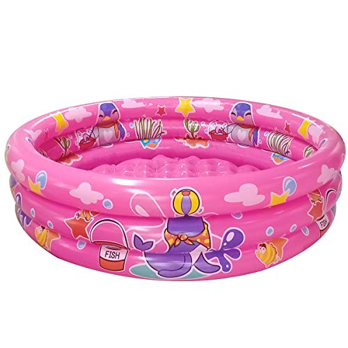 "Big Summer 3 Rings Kiddie Pool, 48""X12"", Kids Swimming Pool, Inflatable Baby Ball Pit Pool (Pink)"