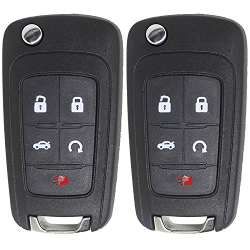 Keyless2Go New Keyless Remote 5 Button Flip Car Key Fob for Vehicles That Use FCC OHT01060512 (2 Pack)