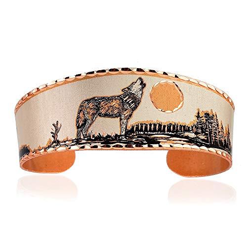 Brazaletes de cobre de la vida silvestre de los hombres y las mujeres, muchachos y muchachos, brazalete ajustable, hecho a mano Metálico