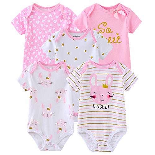 Chamie Newborn Baby Bodysuit 5-Pack Pink Short-Sleeve Onesies Baby Clothes for Boys and Girls