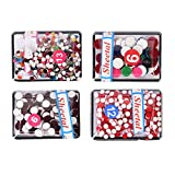 Velvet Bindi Tattoo Stickers Different Sized and Multicolor Polka Dot Maroon Red Multicolor Assorted Adhesive Body Jewelry-Set of 4 box