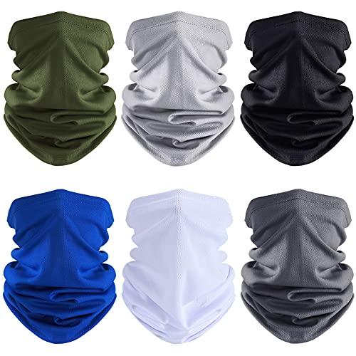 6 Pieces Summer Face Cover UV Protection Neck Gaiter Scarf Sunscreen Breathable Bandana for Men Women (Polyester)