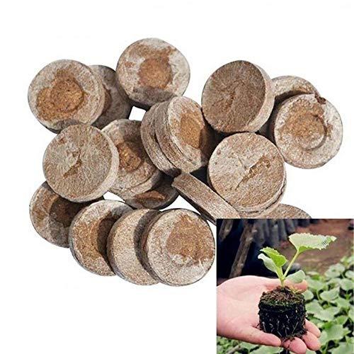 MZY1188 10 Piezas de pellets de 30 mm de diámetro, Flores de pellets de turba Originales Que plantan la semilla de pellets de turba Redonda de Bloque de Suelo