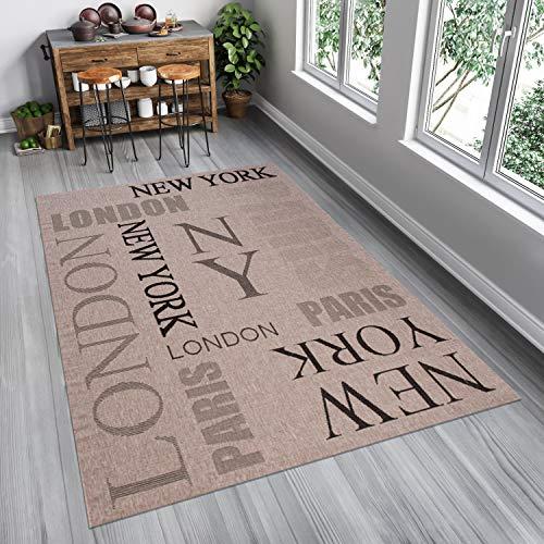 Tapiso Floorlux Alfombra Cocina Comedor Terraza Diseño Moderno Gris Negro London Paris NY Resistente Sisal 160 x 230 cm