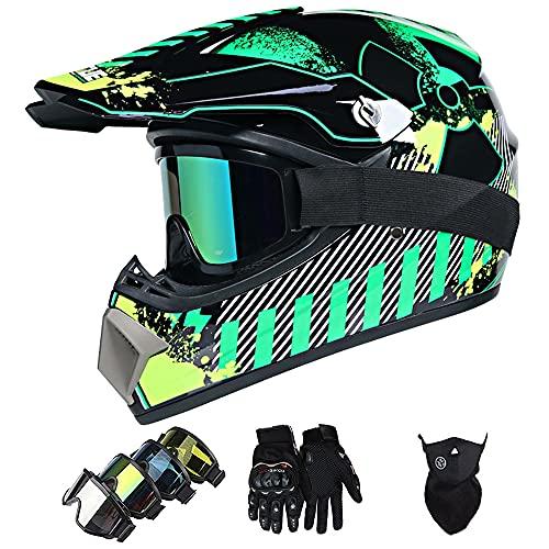 Casco Moto Niño, ECE & DOT Homologado Casco Motocross Infantil y Adultos (con Guantes, Gafas y Máscara) Motocicleta Cascos Integral - para Enduro MX Quad Off Road ATV BMX MTB Carreras Downhill Cascos
