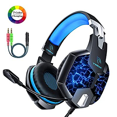 YINSAN PS4 Headset Gaming Headset for Xbox One, 3.5mm Wired 7 LED Lights Stereo Surround Sound Gaming Headphones with Mic Cancelling & Volume Control (USB Extension Cable Contained)