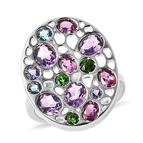 Rachel Galley Multi Gemstone Cluster Ring for Women in 925 Sterling Silver Designer Wedding Jewellery Size R, TCW 2.67ct