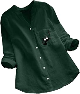 Frieed Women Casual Cat Printed Long Sleeve Cotton Linen V-Neck Plus Size Shirts