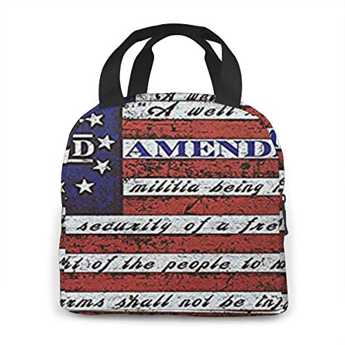 Mountfly Second 2nd Amendment 1791 Vintage American Flag Portable Insulated Lunch Bag Waterproof Tote Bento Bag Lunch Tote