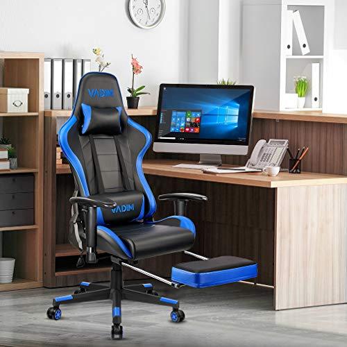 VADIM Silla de escritorio ergonómica para juegos, altura regulable, reposabrazos y reposapiés 2D, ángulo de inclinación de 90-155°, soporta hasta 330 kg, color azul