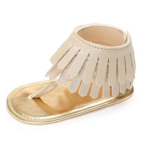 Zapatos Bebe Verano Xinantime Sandalias de Vestir Niña Zapatos Bebe Primeros Pasos Andadores Niñas Zapatos Bebé Aire Libre Borla Sandalias Zapatos de Princesa (6-12 Meses, Dorado)