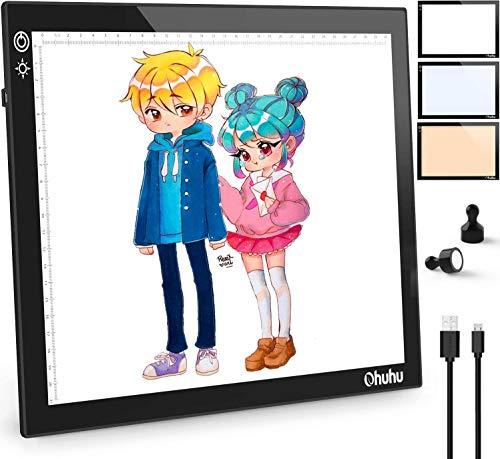 Ohuhu LED Licht Pad mit 3 Farben Licht, A4 Leuchttisch einstellbare Helligkeit, Ultra dünn USB-Lichtpad für Diamond Painting, Zeichnung, Malen, Animation, Tattoo, Skizzierung