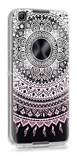 Sunrive Für Alcatel Idol 4 Hülle Silikon, Transparent Handyhülle Schutzhülle Etui Hülle Backcover für Alcatel Idol 4 5,2 Zoll(TPU Blume rosa)+Gratis Universal Eingabestift