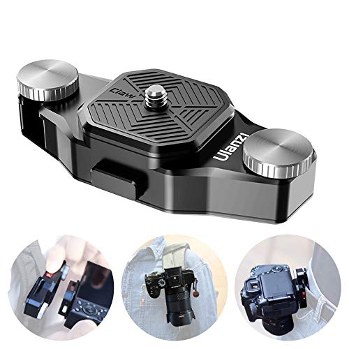 Ulanzi爪カメラクリップストラップクイックリリースクリップシステム、プレート付き、1/4インチ三脚ネジ、ウエストベルトバックパックストラップマウントホルダークリップ、DSLRカメラGopro 8 7 6 5 4 3アクションカメラアクセサリー用 ULANZI CLAW Quick Release Plate