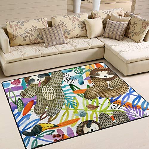 ALINLO Aquarel Schilderij Leuke Luik Blad Ruimte Tapijt, Antislip Tapijt Vloerdeur Mat voor Indoor Outdoor Voordeur Badkamer Matten Home Decor, 4' x 5'3''