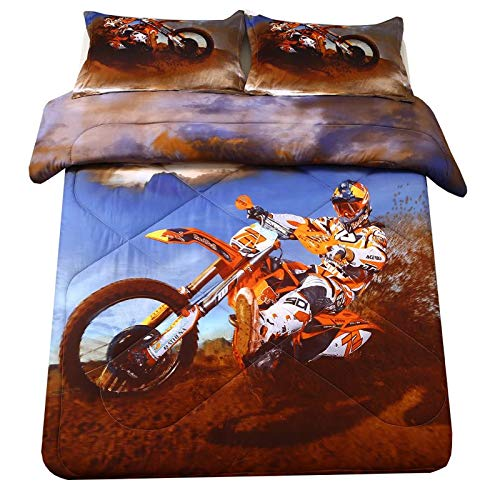 SDIII Xtreme Sports Comforter Sets Full/Queen Size Racing Motorcycle Motocross Bedding Dirt Bike Theme for Teen Boys (Full/Queen, Motocross Comforter)