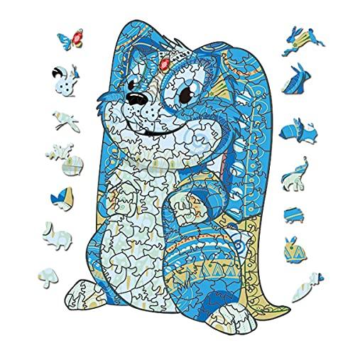 Hosaud Holzpuzzle 3D Wooden Puzzle Erwachsene und Kinder Einzigartige Form Puzzleteile, Holz Puzzles Spielzeug Geschenk Mysterious Tier für Familienspielsammlung (Hase mit Hängeohren,S)