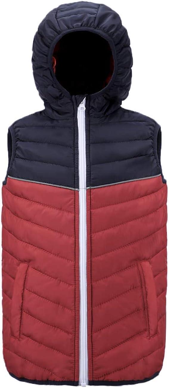 SXM Boy's Girl's Puffer Vest Hooded Quilted Outwear Sleeveless Jacket Lined Zipper Waistcoat