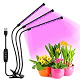 Favrison 30W LED Grow Lights, 60LEDs Full Spectrum LED Plants Growing Light with Timer 360°Adjustable Gooseneck Tri Heads Grow lamp with 9 Dimming Levels for Indoor Plants