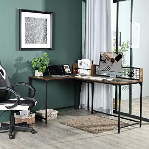 Escritorio de esquina en forma de L, 165 x 110 cm, estilo industrial, escritorio para juegos de ordenador y oficina, tablero DM, color marrón vintage