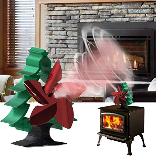 Ventilatore a pala in legno Stove Fan Caminetto per Forno a Calore Girante, Forma Albero di Natale Ventilatore a Stufa Alimentato dal Calore con 5 Pale Silenziose Ecologiche