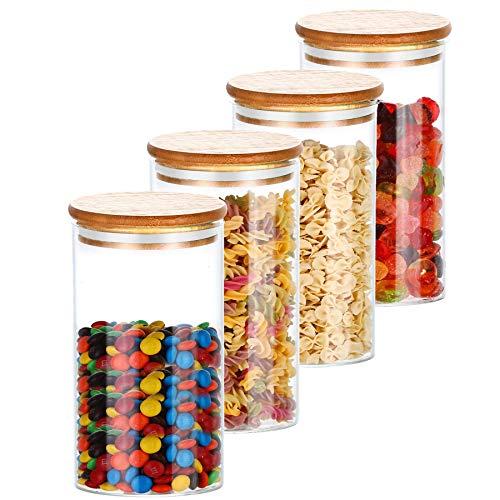 4 Botes de Cristal de Cocina con Tapa de Bambu - Hermeticos - Con 4 Juntas de Repuesto - Aptos para Lavavajillas