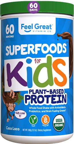 Feel Great Vitamin Co. USDA Organic Green Superfood Kid's Greens Protein Powder (60 Day), Chocolate Vegan Smoothie Mix with Greens, Vitamins, Probiotics, Antioxidants & Natural Enzyme Support