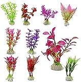 Annfly plantas acuáticas artificiales, plantas acuáticas de simulación de peces, adornos de paisajismo de acuario y flores artificiales se venden en colores al azar