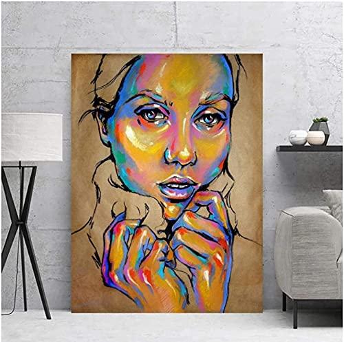 YHJK Arte de la Lona Color Abstracto Mujer Pintura de la Lona Imagen nórdica decoración del hogar Arte de la Pared impresión Cartel decoración de la Sala de Estar 70x90cm sin Marco