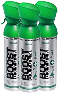 95% Pure Oxygen Supplement, Portable Canister of Clean Oxygen, Increases Endurance, Recovery, Mental Acuity and Performance (5 Liter Canisters, 3 Pack, Natural)