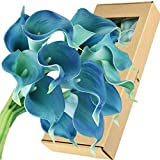FiveSeasonStuff Real Touch Calla Lilies Artificial Flowers Wedding Bridal Bouquet Home Décor Party |Floral Arrangments | 15 Stems (Cerulean Blue)