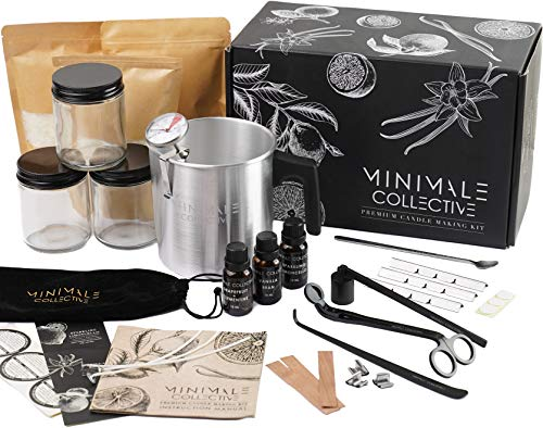Luxury Candle Making Kit for Adults   DIY Soy Candle Making Kit with Glass Jars, Wood Candle Wicks, Cotton Wicks & Candle Accessory Set