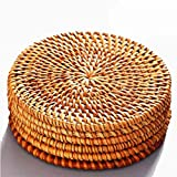 Rattan Coasters, Coasters Exotic Handmade Teacup Coasters, Creative Gift for Kitchen Table Drinks Crafts Table Desk Office Hote for Drinks,Round Natural Coasters, Drink Spills Coasters Set 6 PCS