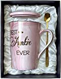 Aunt Gifts from Niece and Nephew - Best Auntie Ever Mug Funny Happy Birthday Presents for Aunty - Pink Marble Ceramic Coffee Cup 14 Oz
