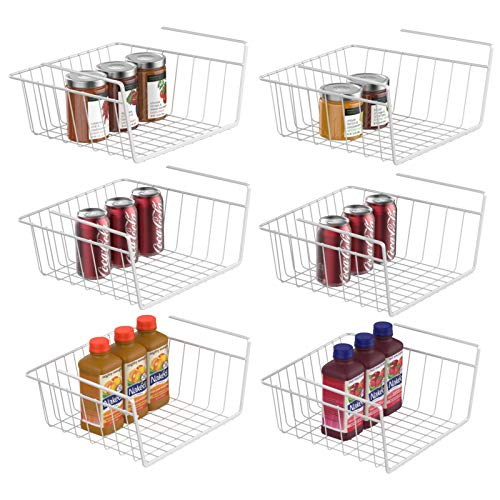 Under Shelf Basket iSPECLE 6 Pack White Wire Rack Wire Basket Under Shelf for Storage Easy to Install