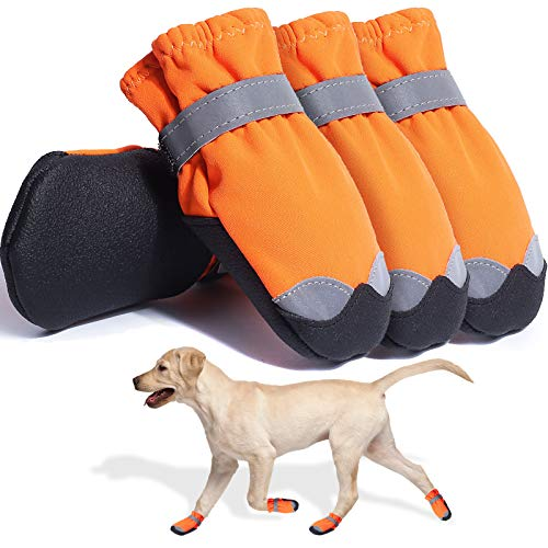 Dog Boots Waterproof Shoes for Large Medium Dogs Paw Protectors for Hiking Summer Hot Pavement 4PCS (Orange 7)