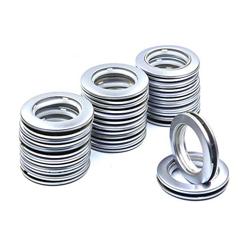 Ailejia 20-Pack Curtain Grommets Lnner Diameter Silencer Sliding Brown Sheers Grommets Reusable Silencer Sliding Easy snap Install Silver 1.73 Inch Inner Diameter Fasteners (Silvery)
