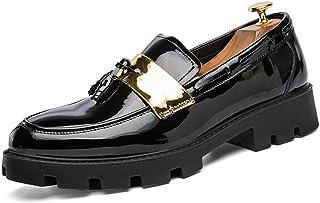 Sygjal Men's Oxfords Shoes Pinch Tassel Slip on Loafer Dress Shoes (Color : White, Size : 39 EU)