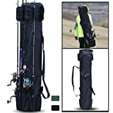 Sougayilang Fishing Rod Case Organizer Pole Storage Bag Fishing Rod and Reel Organizer for Travel, Gift for Father, Boyfriend and Family-Black