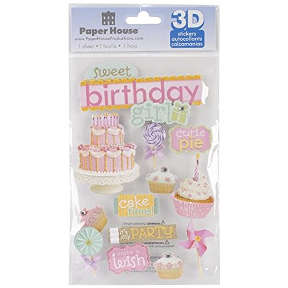 Paper House Productions STDM-181E 3D Stickers, Sweet Birthday Girl