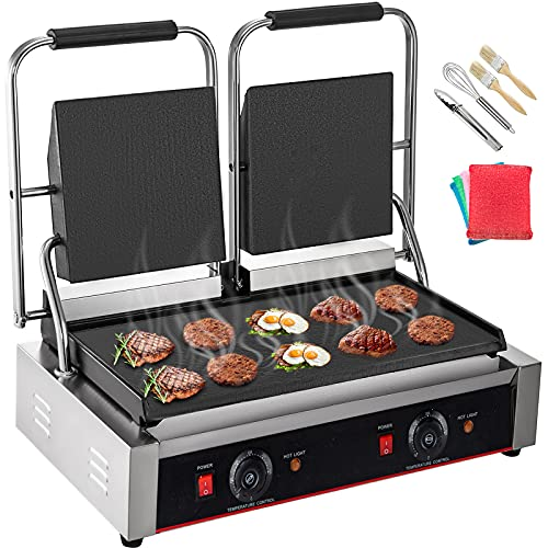 Happybuy 110V Commercial Sandwich Panini Press Grill 3600W Electric Panini Maker Non-Stick Panini Press Griddle Machine Double Flat Plates for Paninis Hamburgers Steaks Bacons