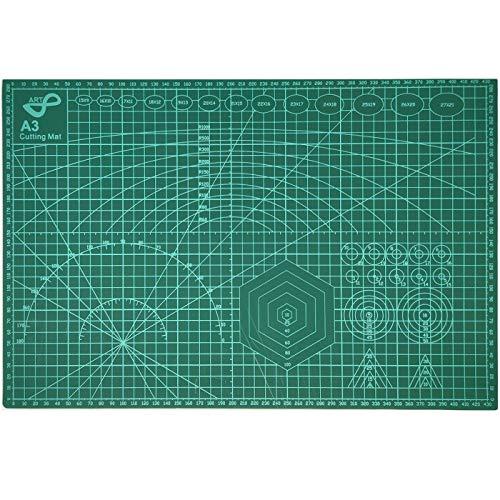 QILZO® Tabla de Corte A3 Doble Cara Plancha de Corte 3 capas para Costura y Manualidades Base de Corte para Patchwork Cutting Mat, Color Verde (45 x 30cm)