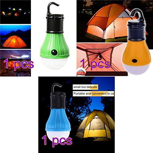 Ledmomo 3 pcs LED portable Lanterne ampoule de lumière de tente pour camping randonnée Pêche lumière alimentée par batterie de secours